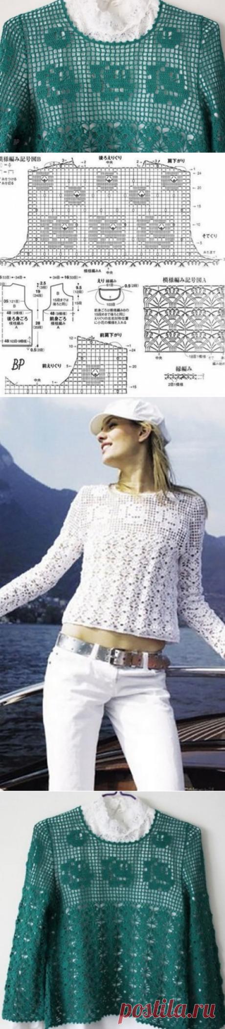 Белый джемпер филейным узором с розами крючком – схемы вязания