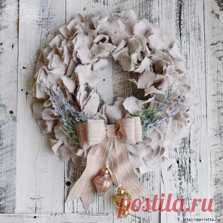 Шикарный рождественский венок в стиле шебби шик