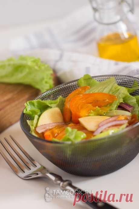 Салат из хурмы с яблоками — рецепт с фото на Русском, шаг за шагом. Еще один рецепт в копилочку необычных салатов с хурмой! Быстрый в приготовлении, сочный, яркий! #салат #хурма #ужин #еда #рецепт #рецепты