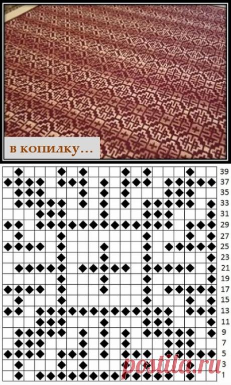 В КОПИЛКУ - узоры спицами со схемой и описанием : Ленивый жаккард с орнаментом (8)