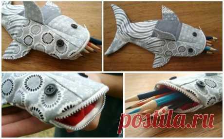 Как сшить школьный пенал в виде акулы из лоскутов
