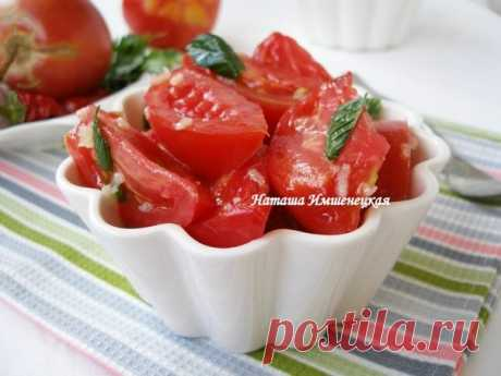 Пикантная закуска быстрого приготовления — помидоры в медовом маринаде