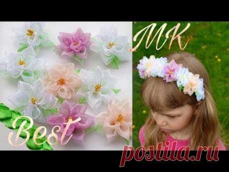 Цветы из органзы. Весенний ободок. МК / DIY 2020