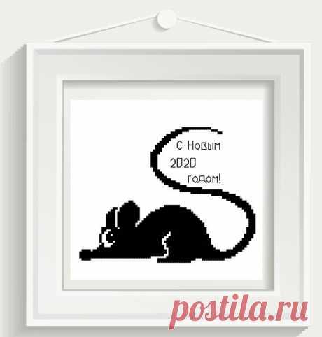 Новогодняя авторская схема для вышивки крестом с мышью pdf e-pattern.ru