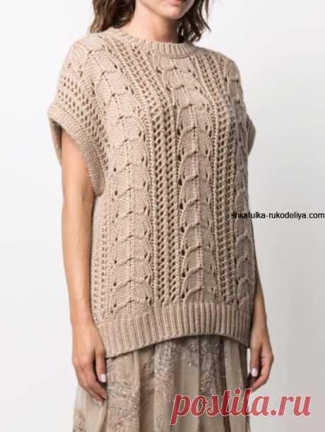 Узор для пуловера от Brunello Cucinelli. Интересный узор спицами