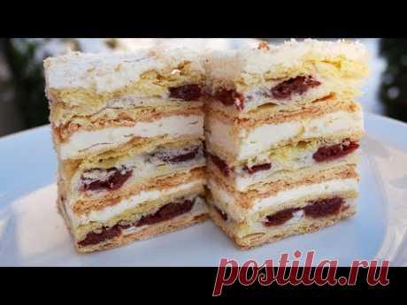 """Нежнейший Торт """"Наполеон"""" с Заварным Кремом и Вишней. Тает Во Рту!"""