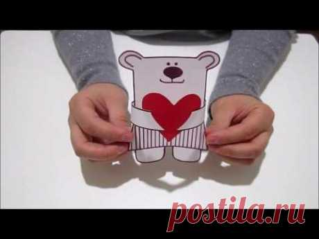 DIY/ Подарок на 14 февраля своими руками за 5 минут. Мишка с сердечком из бумаги.
