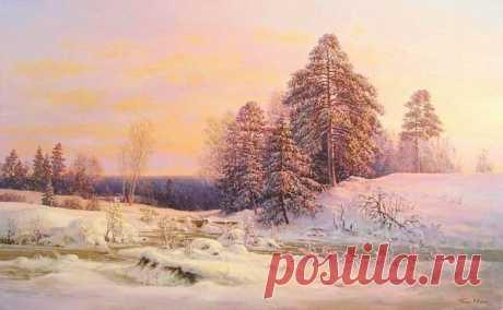 Святая Русь, художник Сергей Панин  Зима уходящая  Ласковый день В зимнем лесуБелый снег, как дух святой, ложитсяНа поляны, горы и дома,И кружится над землёй, кружитсяБогомольная, прекрасная зима.В белом платьице своём искристомДева чи…