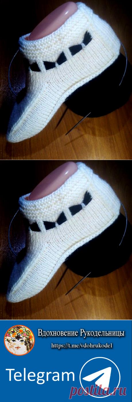 Тапочки – носочки. Интересный вариант (Вязание спицами) – Журнал Вдохновение Рукодельницы