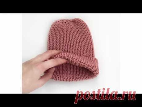 Отворот на шапке. Как сделать красивый отворот на шапке спицами.
