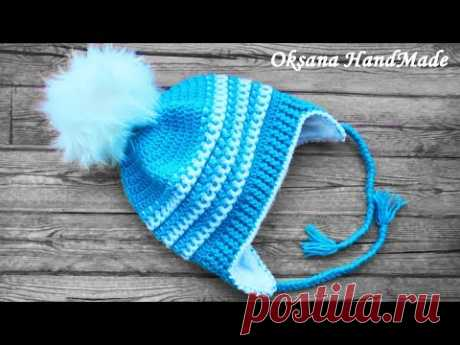 Шапка крючком с подкладом из флиса. Мастер класс+схема. Crochet hat - YouTube