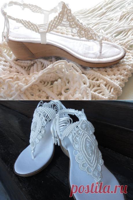 Bohemian Wedding Sandals Shoes with Ankle Strap / от KateNikolova