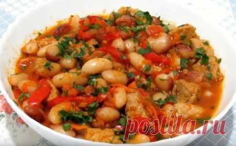 Фасоль с мясом и овощами в горшочках - не только сытное блюдо, но и очень вкусное, полезное, ароматное!!!