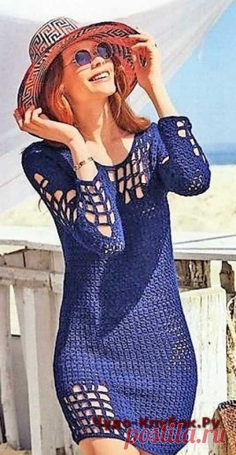 Синее платье оригинальное | ✺❁сайт ЧУДО-клубок ❣ ❂✺Синее платье оригинальное схемы и описание к нему: ❂ ►►➤6 000 ✿моделей вязания ❣❣❣ 70 000 узоров►►Заходите❣❣ %