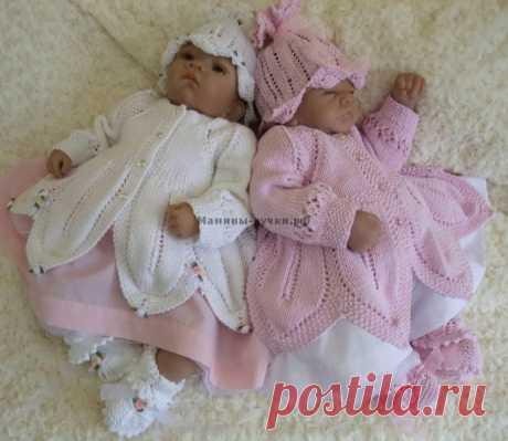 """Комплект """"Розочка"""" для новорожденной девочки спицами."""