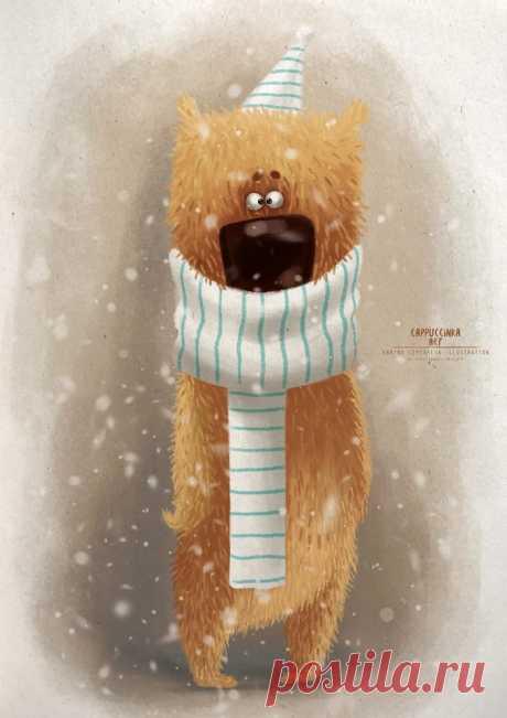 Иллюстрация Первый снег. Просмотреть иллюстрацию Первый снег из сообщества русскоязычных художников автора Карина Лемешева(Капучинка) в стилях: Детский, Книжная графика, Персонажи, нарисованная техниками: Растровая (цифровая) графика.