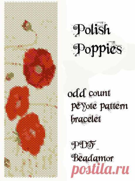 Peyote Pattern for bracelet: Polish Poppies - INSTANT DOWNLOAD pdf Peyote bracelet pattern made with Delica 11 whose colours you can easily change to any kind of cylinder or seed beads size 11. Width: 5,2cm/2,6 Length: 17,5cm/7,5 Colors: 10 Stitch: one-drop odd peyote stitch  SENDING / RECEIVING:  Instant Download! The file / link will be sent to your Etsy