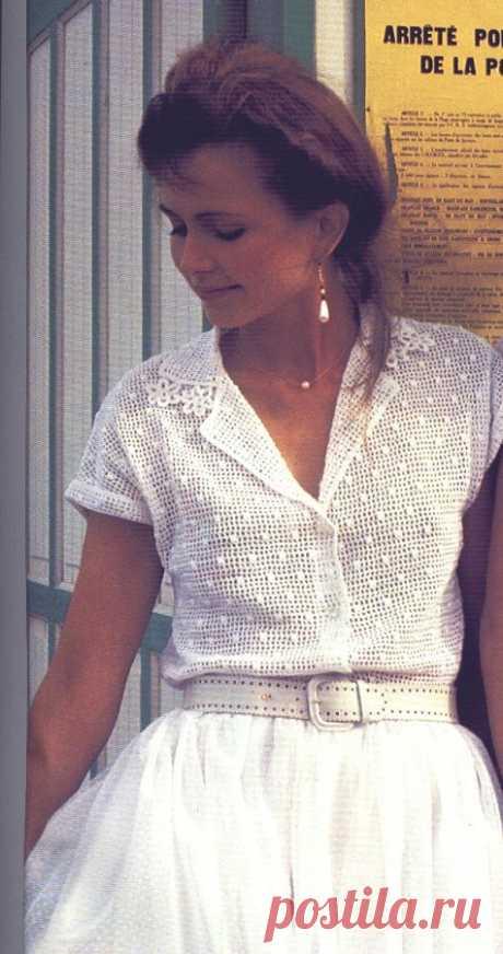 Вязаная филейная блузка.