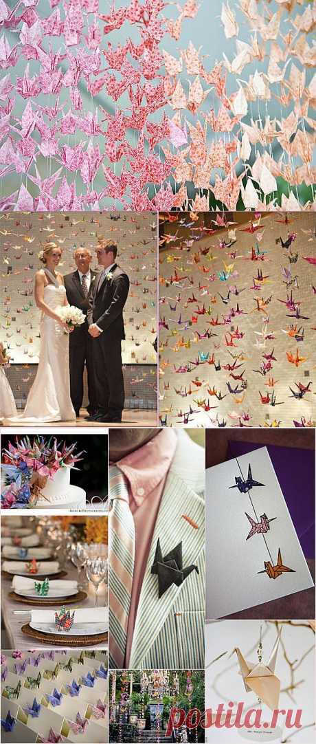 Бумажные журавлики для счастливой свадьбы