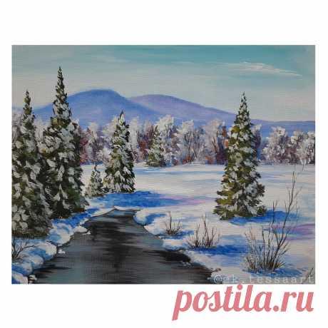 Рисуем зимний пейзаж гуашью пошагово | Уроки рисования с Тессой Арт | Яндекс Дзен