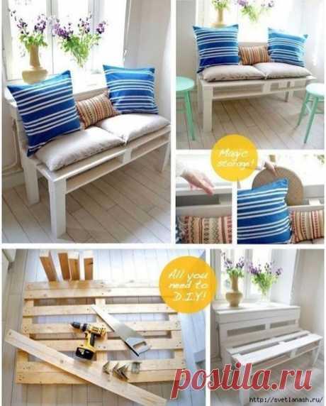 Уютный диванчик из деревянного поддона