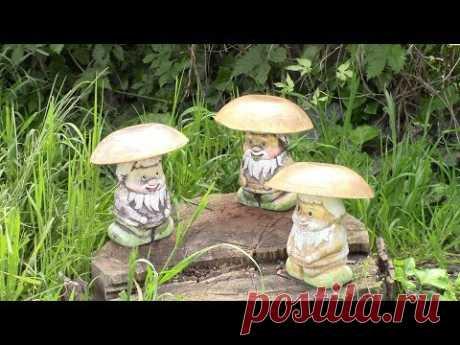Садовые фигуры грибы. Интересный способ окрашивания/ Garden figures DIY. ХоббиМаркет
