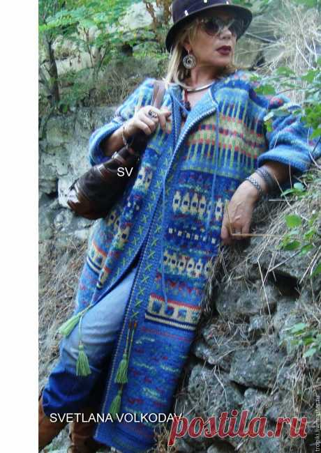 Пальто вязаное жаккардовое демисезонное в этно стиле – купить в интернет-магазине на Ярмарке Мастеров с доставкой - 9XW03RU | Керчь