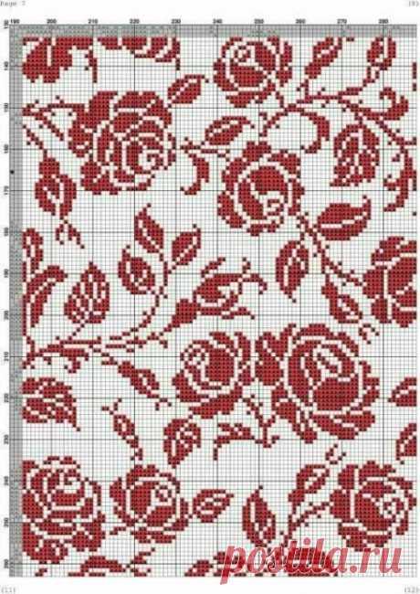 Вышиваем цветочные орнаменты с красными розами