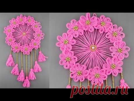 Woolen Craft Idea/Best Out of Waste Woolen Door Hanging/How To Make Wall Hanging for Room Decor