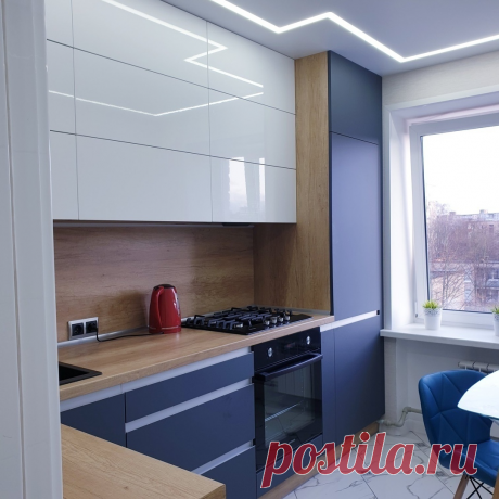 Яркая и сочная кухня 6 кв.м. в современном стиле.   Карманный дизайнер   Яндекс Дзен