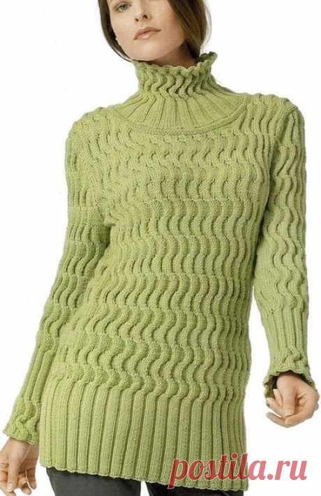 """Вязаный женский свитер """"Зигзаги"""" Kötés - Modellek Вязание, Зеленый свитер и Свитер"""