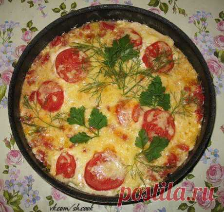 Fish with tomatoes and cheese in Greek
