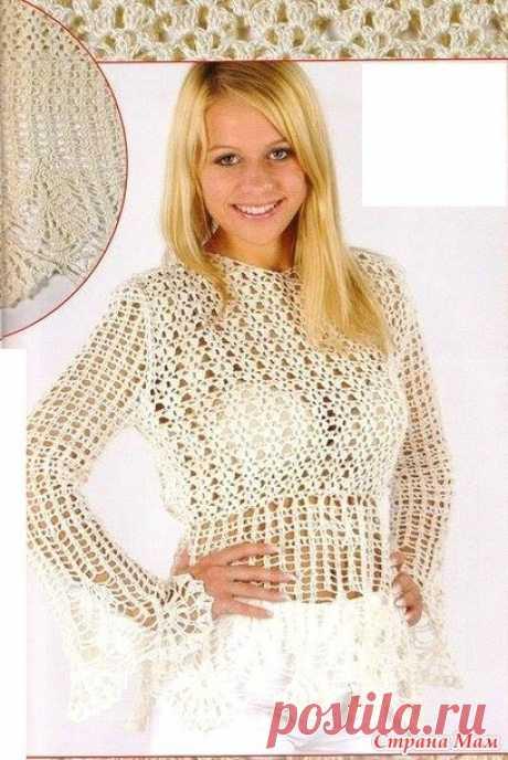Белое золото. Укороченный пуловер - Все в ажуре... (вязание крючком) - Страна Мам