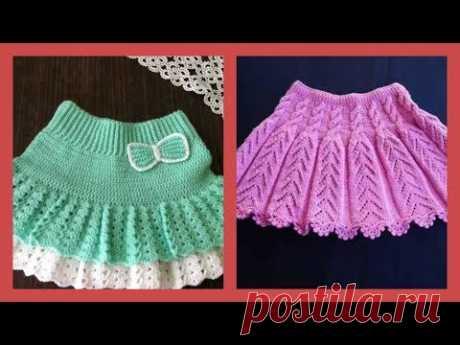 Вязаные юбки для девочек с трикотажем