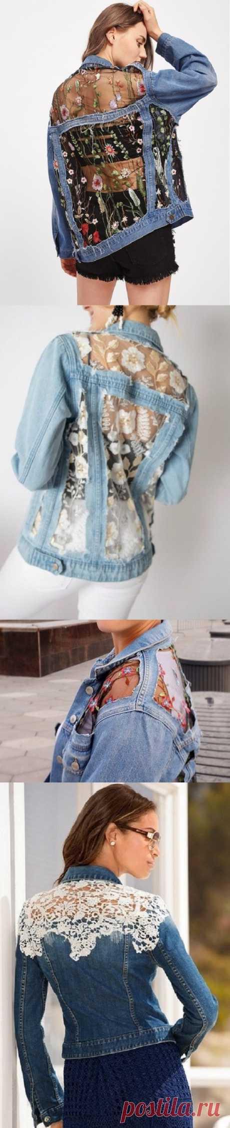Идеи отделки женских джинсовых курток