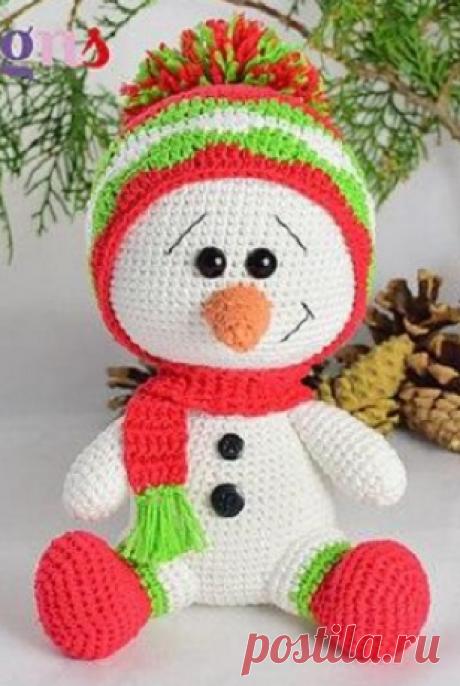 Вязание снеговика крючком.