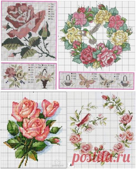 Подушки с вышивкой. Розы, подборка схем для вышивки крестом / Вышивка крестом / В рукоделии