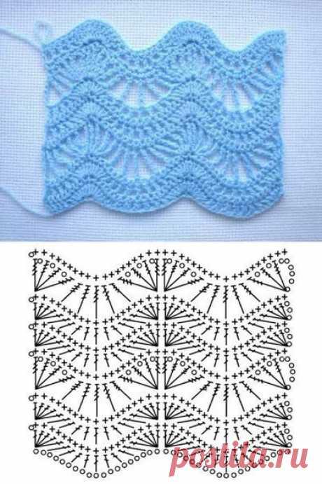 Винтажный волнистый узор с веерами (Вязание крючком) – Журнал Вдохновение Рукодельницы