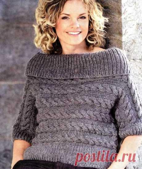 El pulóver gris con las trenzas horizontales