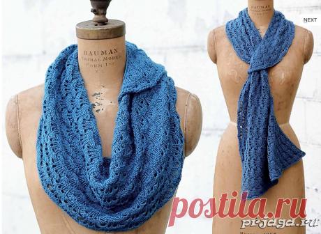 Синий шарфик спицами, схема.