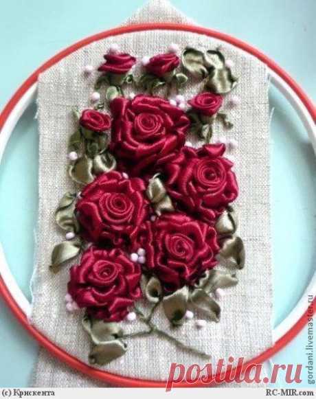 Вышивка лентами. Розы.