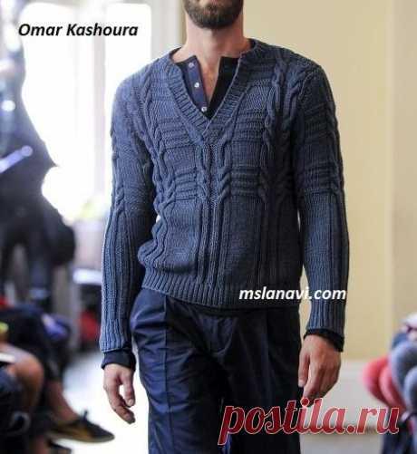 Мужской пуловер-поло от Omar Kashoura - модель из лондонской коллекции. спицами