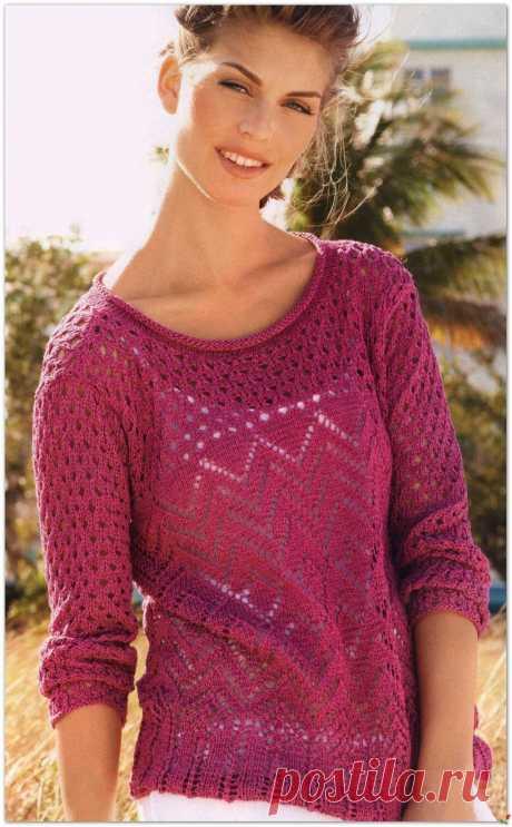 Розовый ажурный пуловер.