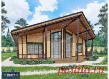 p1819fr – проект одноэтажного гостевого дома из каркаса с 1 спальней и большой террасой