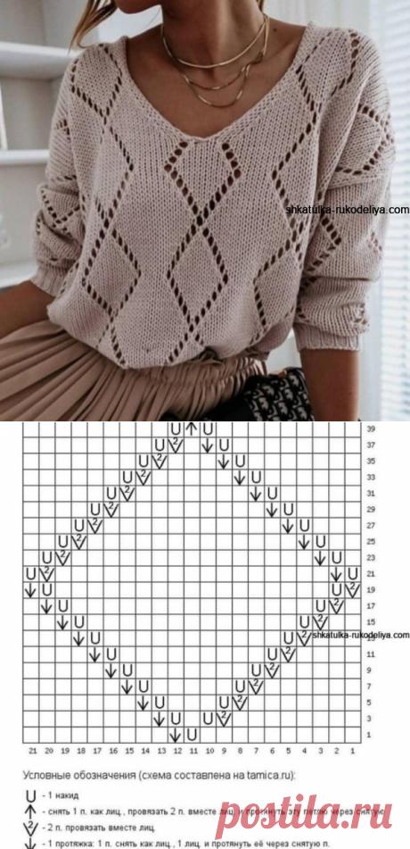 Стильный женский джемпер спицами + мастер класс (Вязание спицами) – Журнал Вдохновение Рукодельницы