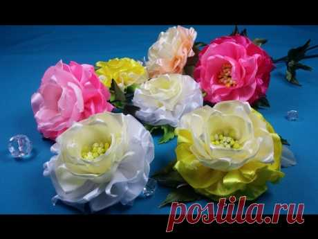 Easy ribbon flowers\/Simples flores de las Cintas\/idle time a flower from tapes