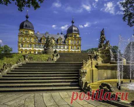Картинки германия, скульптуры, фонтан, seehof palace memmelsdorf, дворец, лестница, город - обои 1280x1024, картинка №354844