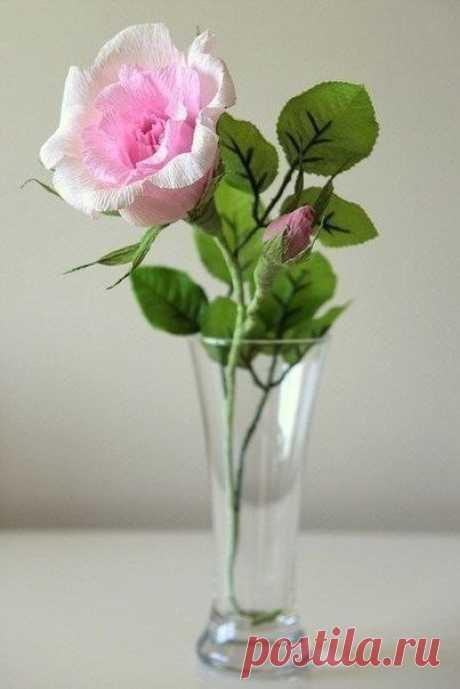 Изумительная роза из гофрированной бумаги: мастер-класс — Сделай сам, идеи для творчества - DIY Ideas