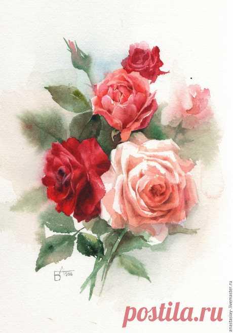 Букет роз Купить или заказать Букет роз в интернет-магазине на Ярмарке Мастеров. Небольшой букет роз. Акварельная работа. Эту работу можно компоновать с другими работами из этой серии подробности в…