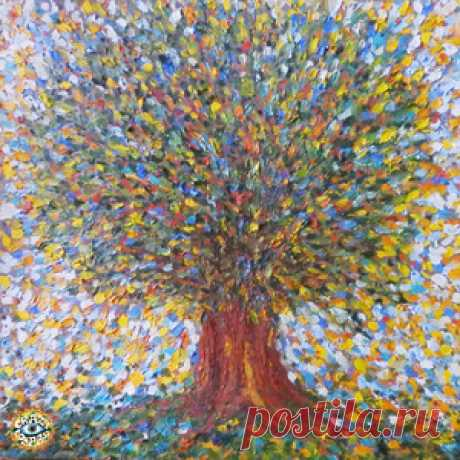 """""""The Tree of Life"""" canvas / oil 65 x 65 cm (N. Boundariver) к альбому CRAZY COMPASS planet band - Древо Жизни / Life Tree - METICULOUS MIDGETS - сетевой арт-лейбл, интернет-радио"""